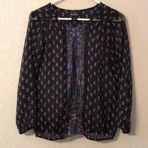 Navy sheer blouse